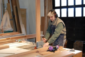 Bruce MacDonald hard at work in the workshop